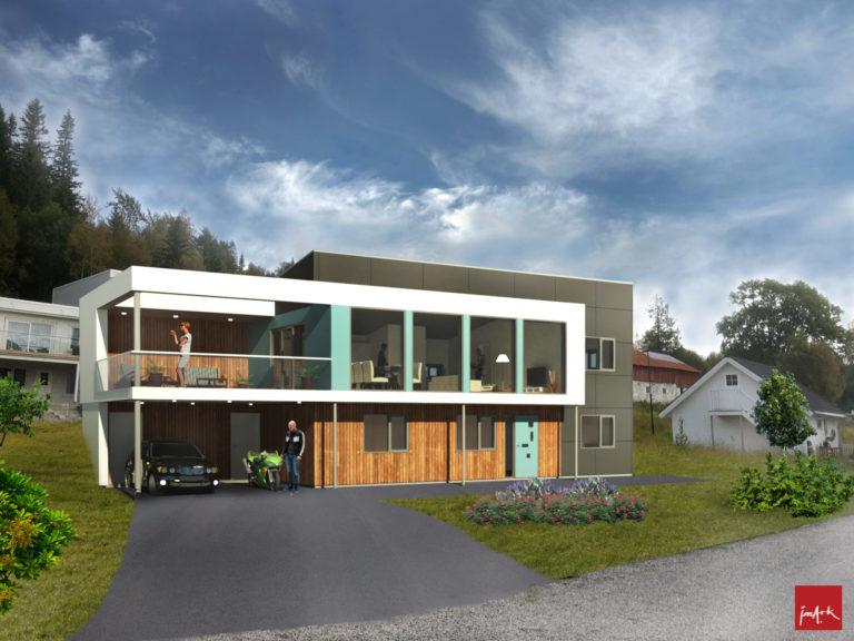 Arkitekttegnet funkisvilla på Høkneslia til salgs